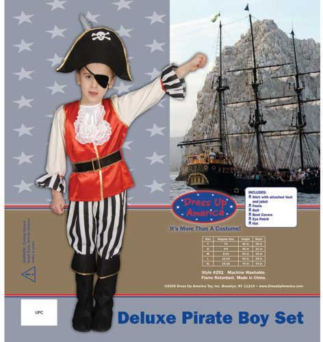 Dress Up America Deluxe Pirate Boy Set Costume Set Large 12-14 291-L by Dress Up America
