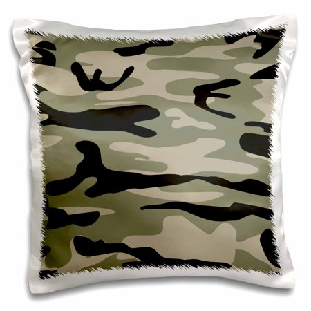 Khaki Olive Green - 3dRose Khaki army print - brown beige olive green camo - soldier military camouflage texture - Pillow Case, 16 by 16-inch