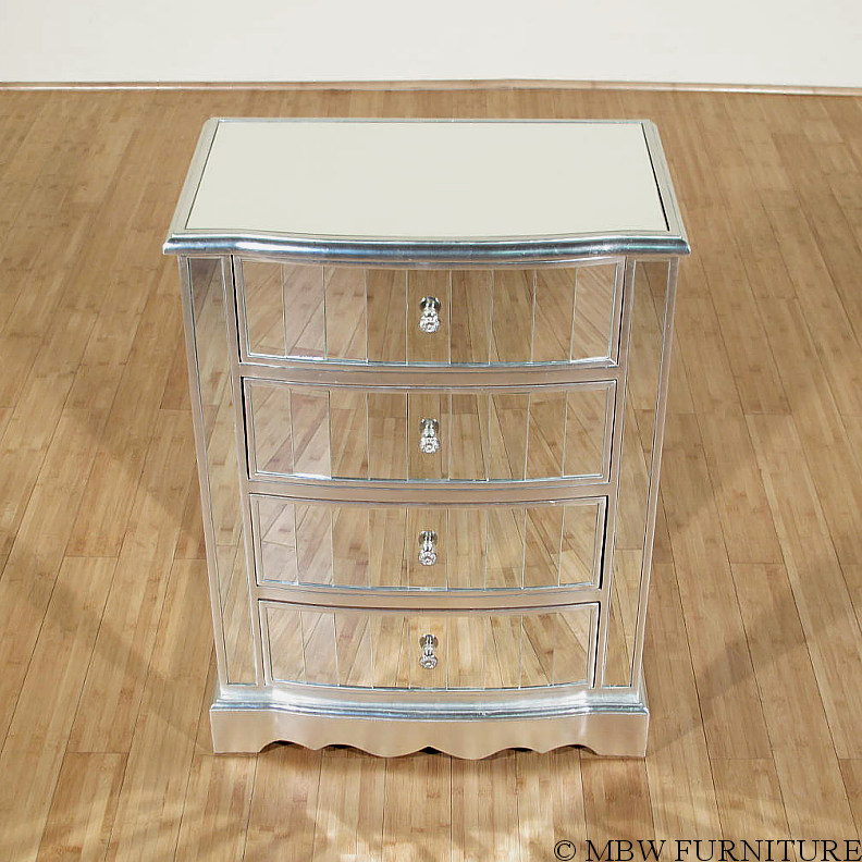 distressed silver 4 drawer mirrored nightstand side table