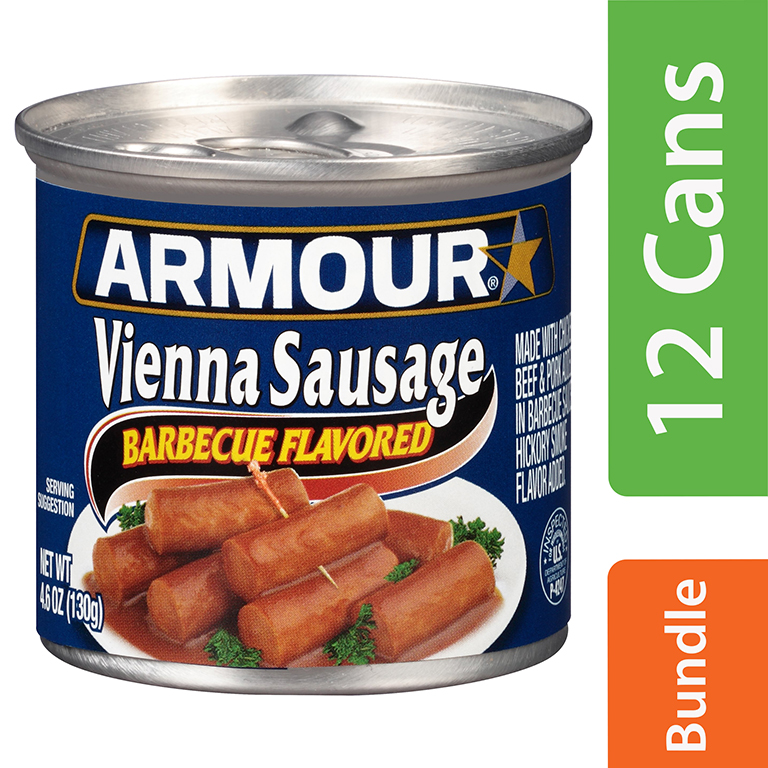 Armour Barbecue Flavored Vienna Sausage, 4.6 oz Can (12 Packs)