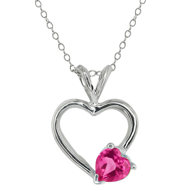 0.90 Ct Heart Shape Pink Mystic Topaz 14k White Gold Pendant