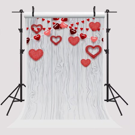 GreenDecor Polyster 5x7ft Valentine's Day Backdrops for Photographer Red Heart Background White Wood Photo Booth Backdrop Props for - Cheap Backdrops For Parties