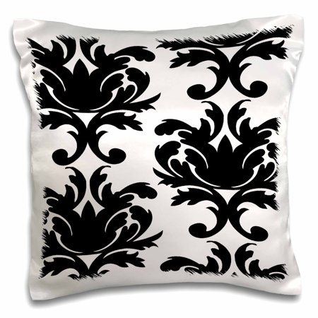 3dRose Large Elegant Black And White Damask Pattern Design, Pillow Case, 16 by 16-inch