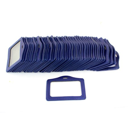 Blue Faux Leather Business Office Bank Id Badge Card Holder 50 Pcs
