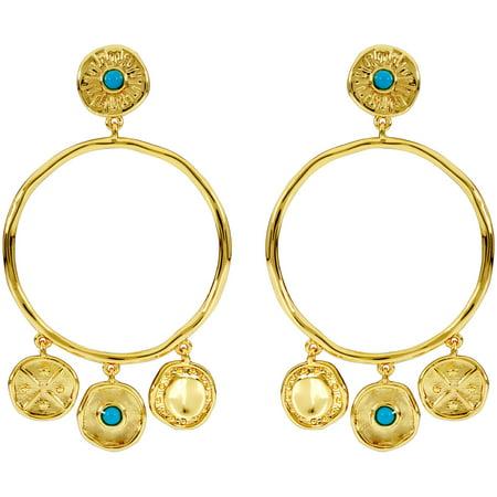 Gorjana Cruz Coin Drop Hoop Earrings 19501567G Coin Jewelry Earrings