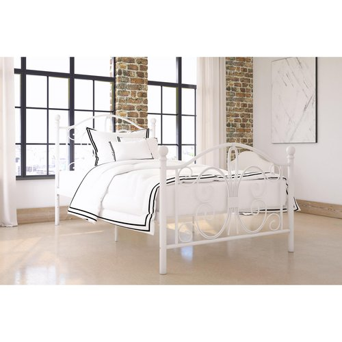 Bombay Twin Metal Bed, White