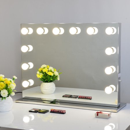 Large Four Light Vanity - Chende Large Frameless Hollywood Tabletops Mirror Lighted Makeup Vanity Mirror with Dimmer