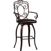 Linon Crested Back Bar Stool, Dark Brown, 30 inch Seat Height by Linon