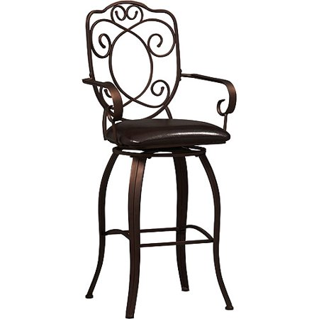 Linon Crested Back Bar Stool, Dark Brown, 30 inch Seat Height ()
