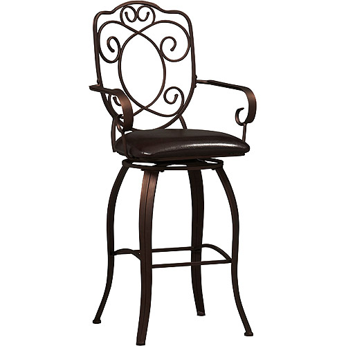 Linon Crested Back Bar Stool, Dark Brown, 30 inch Seat Height