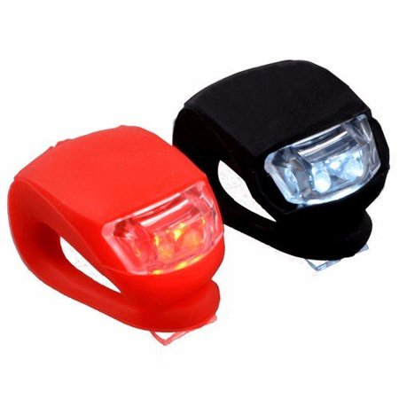 Wideskall® Silicone Bike Bicycle LED Front Headlight & Rear Taillight Flashlight Set