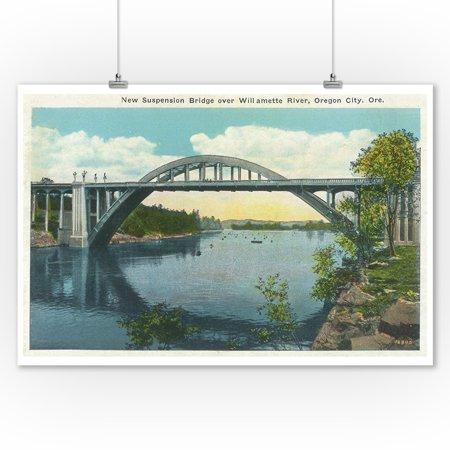 Oregon City, Oregon - View of New Suspension Bridge over Willamette River (9x12 Art Print, Wall Decor Travel Poster)