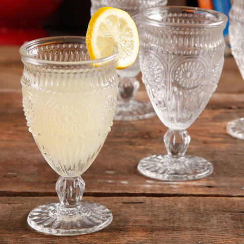 The Pioneer Woman Adeline Embossed Footed Glass Goblet