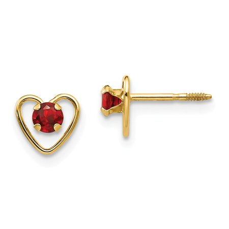 Solid 14k Yellow Gold 3mm Simulated Garnet Simulated Birthstone Heart Earrings
