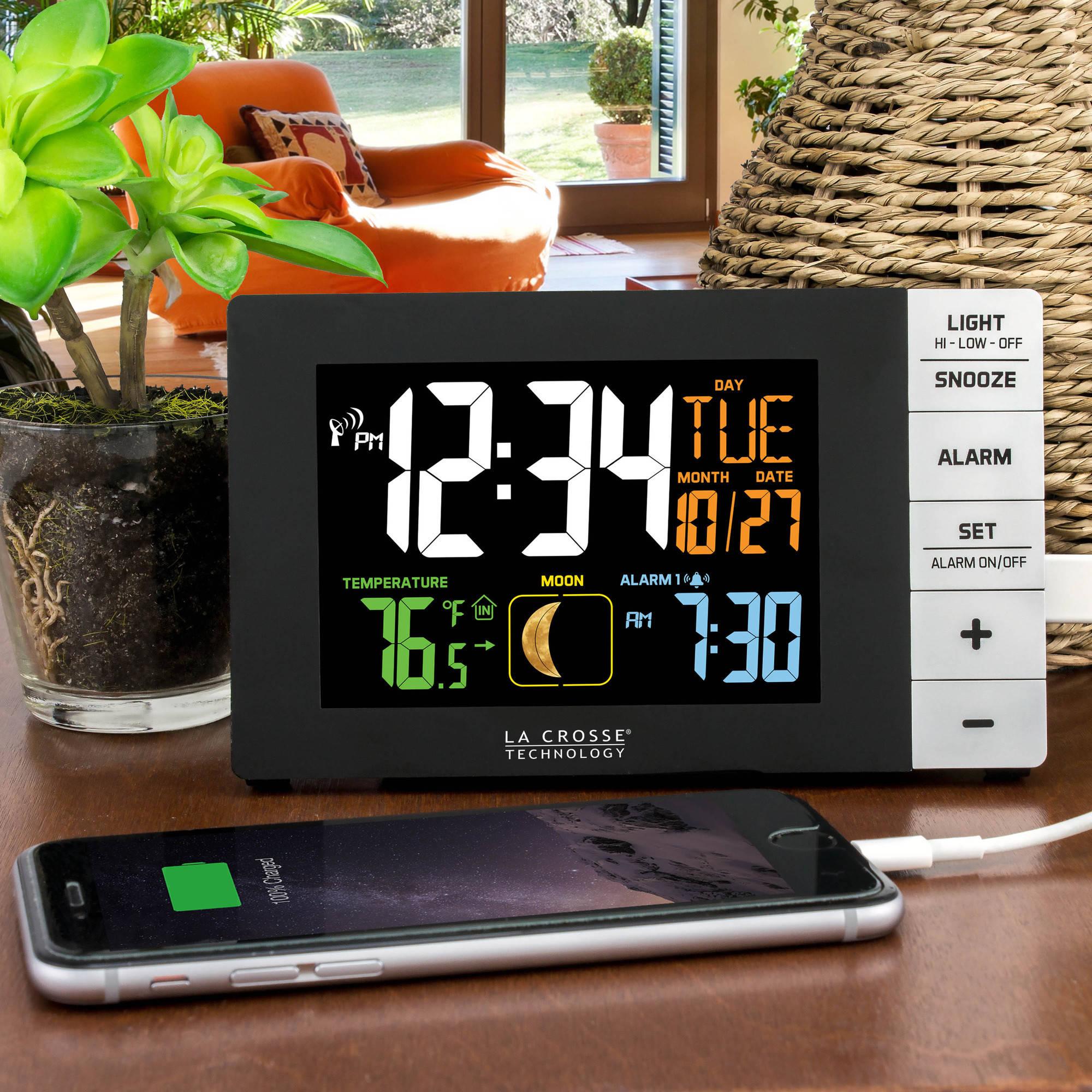 La crosse technology color alarm clock with indoor temperature and la crosse technology color alarm clock with indoor temperature and usb port walmart amipublicfo Gallery