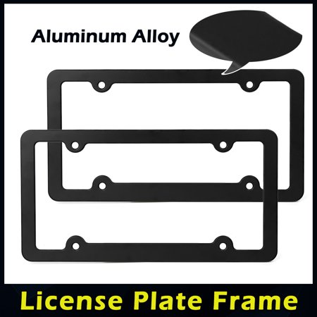 4 Hole Black Aluminum Alloy Front Rear License Number Plate Frame w/ Screw Caps