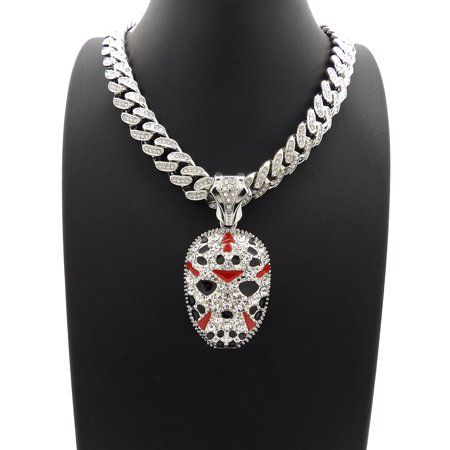 Hip Hop Iced Out Slaughter Gang Mask Pendant with 18
