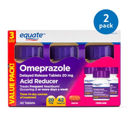 (2 Pack) Equate Acid Reducer Omeprazole Delayed Release Tablets, 20 mg, 42 Ct, 3 Pk - Treat Frequent (Best Heartburn Medicine For Pregnancy)