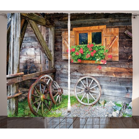 Rustic Curtains 2 Panels Set, Weathered Old Window with Flowers in Pot Wheels Farmhouse Rural Scene Front View , Living Room Bedroom Decor, Brown Green Red, by Ambesonne