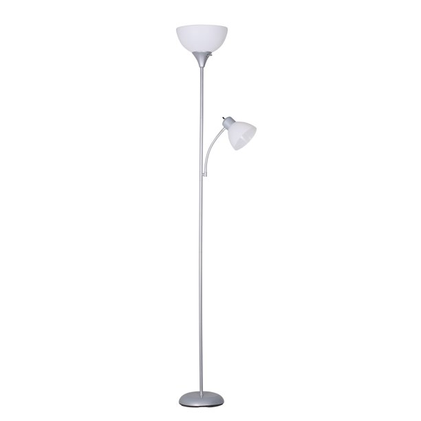 Mainstays 72 Combo Floor Lamp With Adjustable Reading Lamp Silver Walmart Com Walmart Com