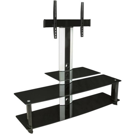 Mount-It TV Shelf Stand Entertainment Center with Mount, 3 Tempered Glass Shelves, Fits 32″-60″ Screen Sizes