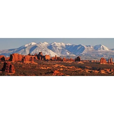 Panoramic View Of The La Sal Mountains And The Windows Section Of Arches National Park, Utah Print Wall Art By Austin Cronnelly