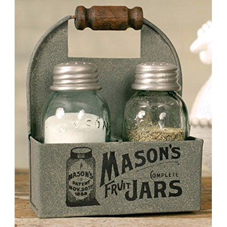 Colonial Tin Works Mason's Jars Box Salt and Pepper Caddy with Wood Handle ()