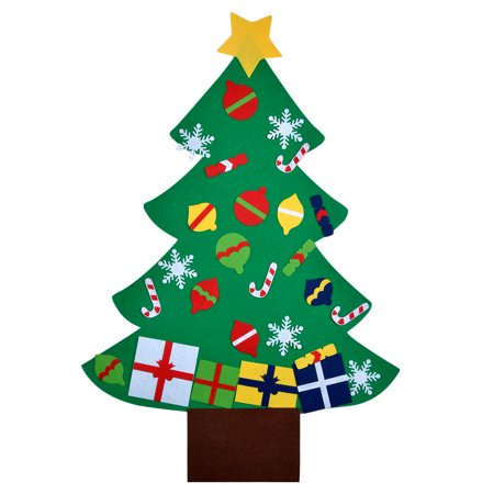 Christmas Game DIY Felt Christmas Tree Kids Educational Toy Christmas Party Wall Decor with Hanging Rope ()
