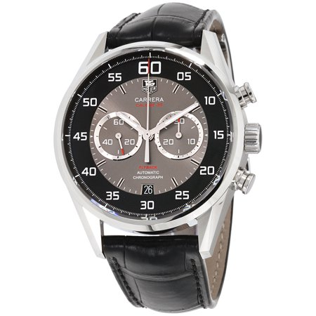 Tag Heuer Carrera Black and Grey Dial Chronograph Leather Mens Watch CAR2B10.FC6235 Black Dial Red Meter
