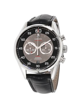 Tag Heuer Carrera Black and Grey Dial Chronograph Leather Mens Watch CAR2B10.FC6235