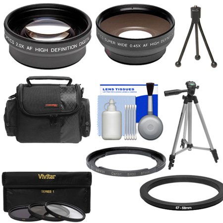 Bower FA-DC67A Adapter Ring for Canon PowerShot SX530, SX540 & SX60 HS Camera + .45x Wide Angle & 2x Tele Lenses + 3 UV/CPL/ND8 Filters + Tripod + Case