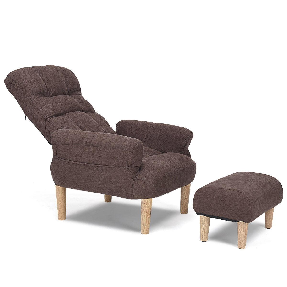 Lazy Sofa Chair W Footstool Armrest Living Room Backrest