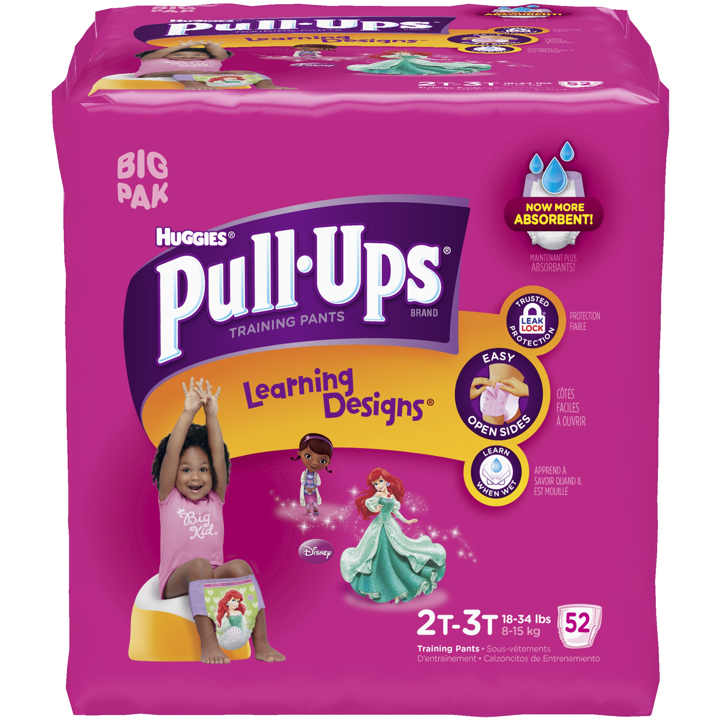 HUGGIES Pull-Ups Girls' Training Pants with Learning Designs, Big Pak, (Choose Your Size)