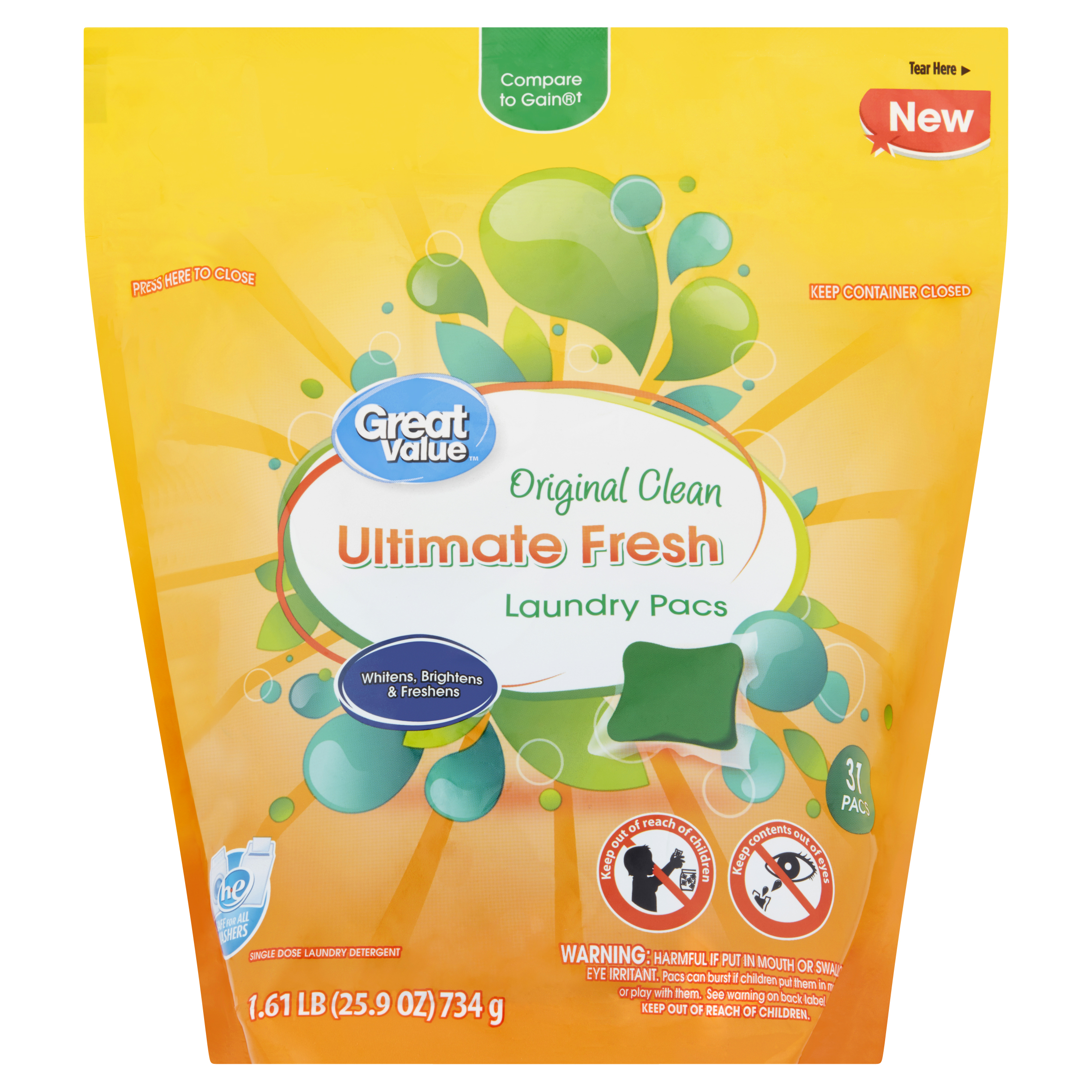 Great Value Ultimate Fresh Laundry Detergent Pacs, Original Clean Scent, 31 Count