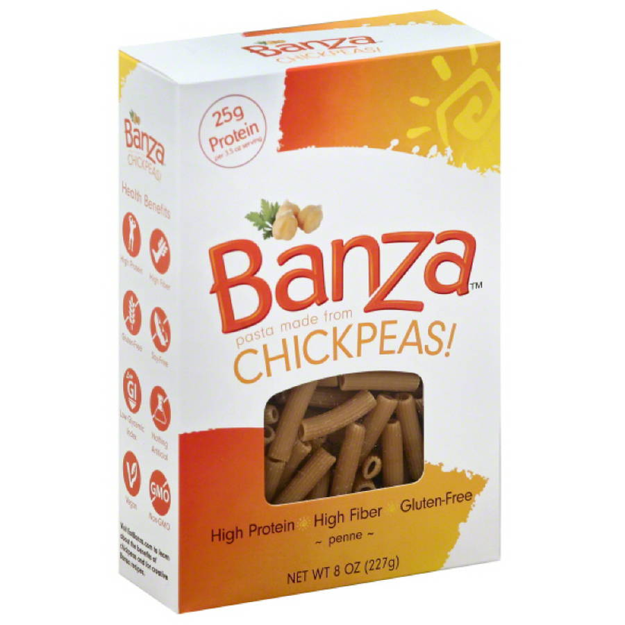 Banza Chickpeas Penne Pasta, 8 oz, (Pack of 6)