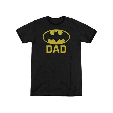 Adult Ringer - Batman Bat Dad Mens Adult Heather Ringer Shirt