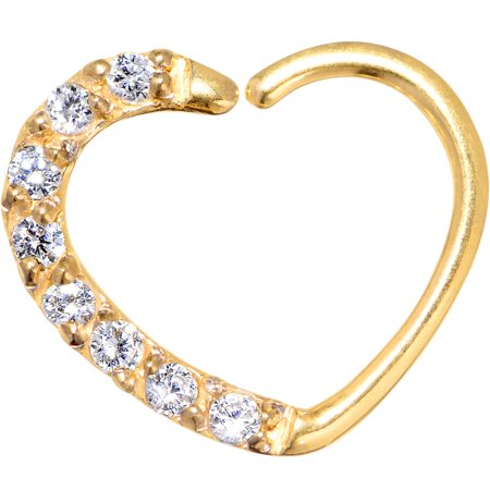 - Body Candy Gold PVD Steel Clear Accent Heart Right Ear Daith Cartilage Tragus Earring 16 Gauge 3/8