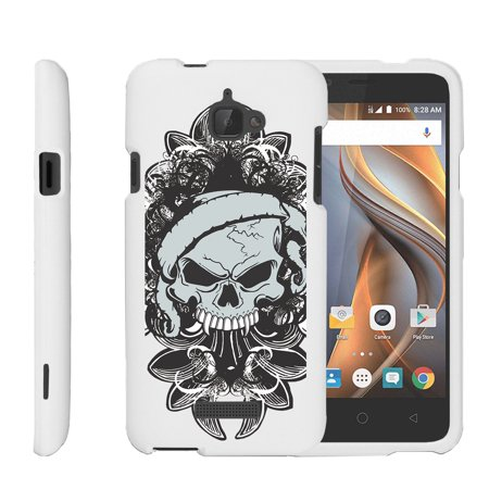Coolpad Catalyst   Snap Shell  White  2 Piece Snap On Rubberized Hard White Plastic Cell Phone Case With Exclusive Art    Demon Skull