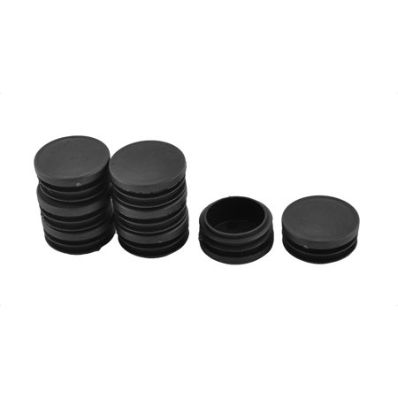Furniture Leg Plastic Round Tube Insert Cap Cover Protectors Black 40mm Dia 8pcs - image 1 de 1