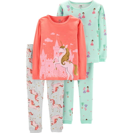 Best Girls Pajamas (Long Sleeve T-Shirt and Pant Cotton Pajama Bundle, 2 sets (Toddler)