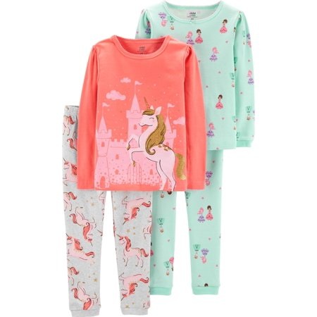Long Sleeve T-Shirt and Pant Cotton Pajama Bundle, 2 sets (Toddler Girls)