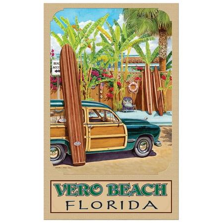Florida Vintage Poster (Vero Beach Florida Beach Access Travel Art Print Poster by Evelyn Jenkins Drew (12