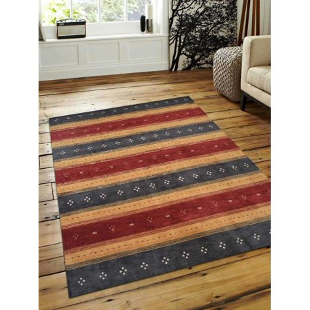 Rugsotic Carpets Hand Knotted Gabbeh Wool 8'x10' Area Rug Contemporary Charcoal Gold OJL00212 Bakhtiari Hand Knotted Rug