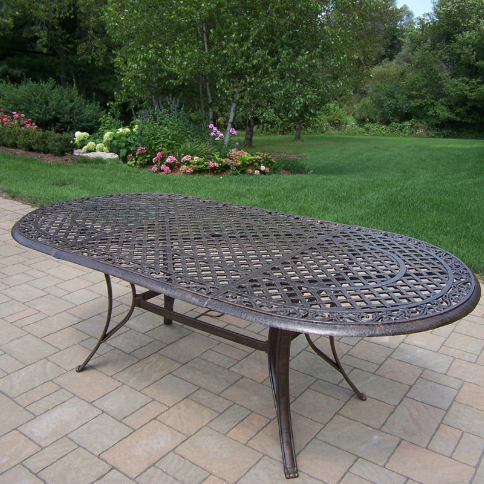 Oakland Living Mississippi Cast Aluminum 82 X 42 In. Oval Patio Dining Table