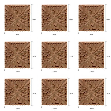 Square Wood Carved Furniture Corner Onlay Applique Unpainted Home Furniture Decorations - Corner Decorations