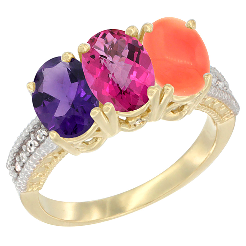 10K Yellow Gold Diamond Natural Amethyst, Pink Topaz & Coral Ring Oval 3-Stone 7x5 mm,sizes 5-10 by WorldJewels