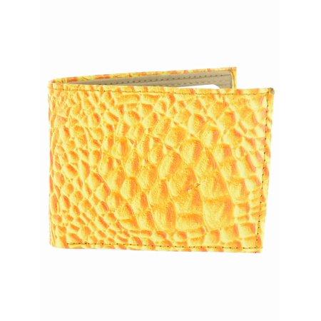 Men's Crocodile Embossed Wallet WLT-LL16YW in Yellow ()