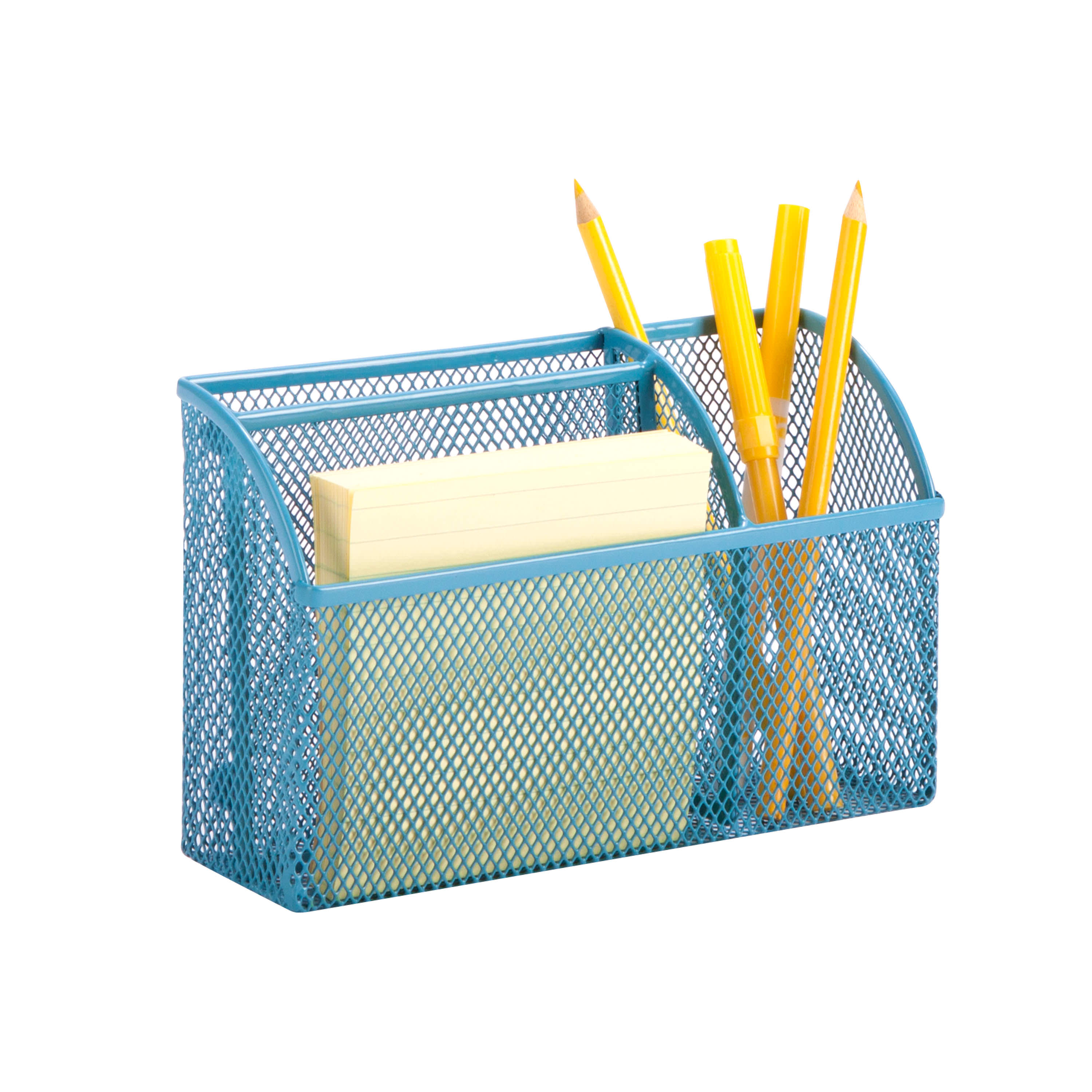 Honey Can Do Mesh Office Organizer with 3 Compartments, Multicolor
