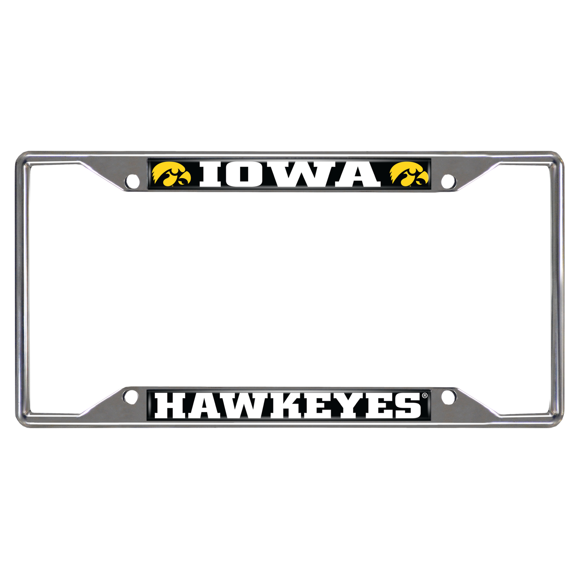 14904 Fanmats College NCAA University of Iowa 6.25 Inch x 12.25 Inch chrome metal with durable finish colors Team logo Car vehicle License Plate Frame