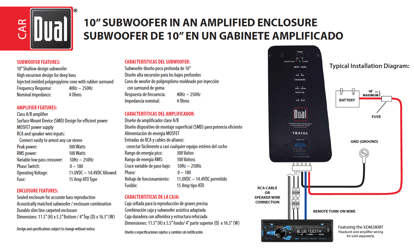 Amplified Subwoofer Wiring Input Diagram Box Dual Electronics Tbx10a 10 Inch Shallow High Performance Powered Single Coil Plans